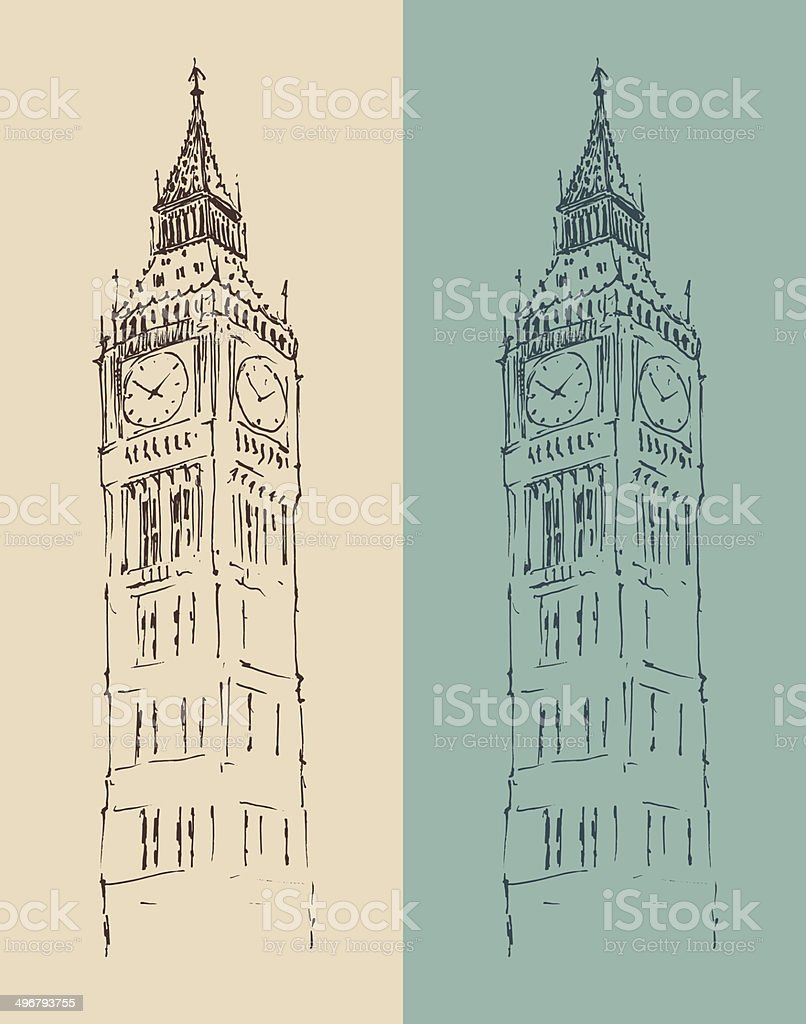 Big Ben, London vintage illustration, engraved retro style royalty-free stock vector art