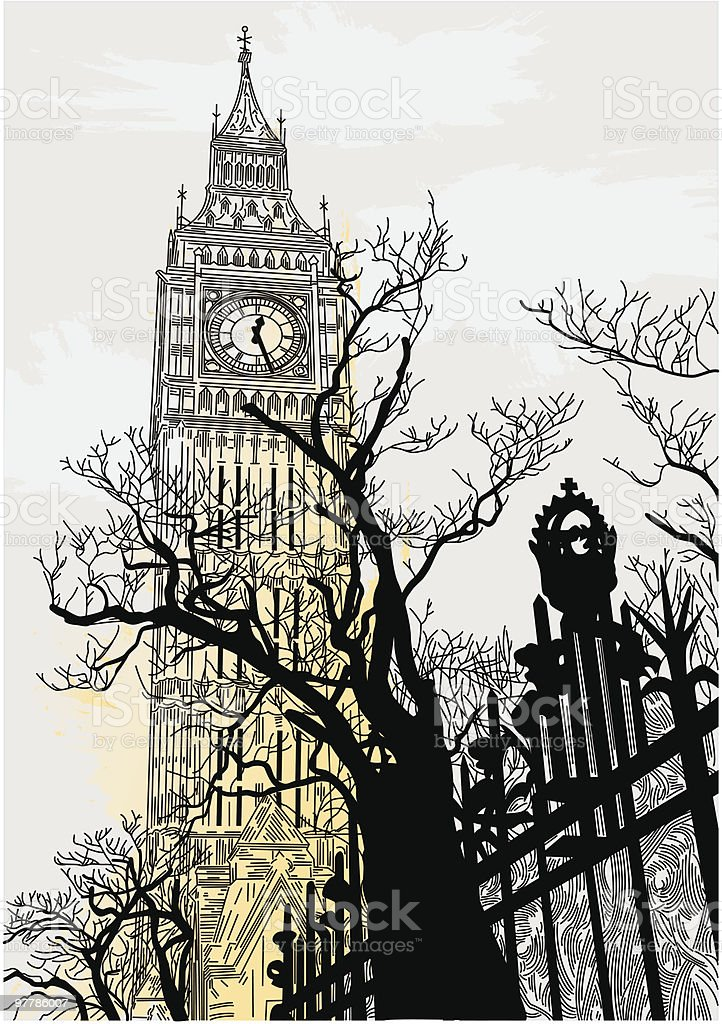 Big Ben on a Grey London Morning royalty-free big ben on a grey london morning stock vector art & more images of architecture