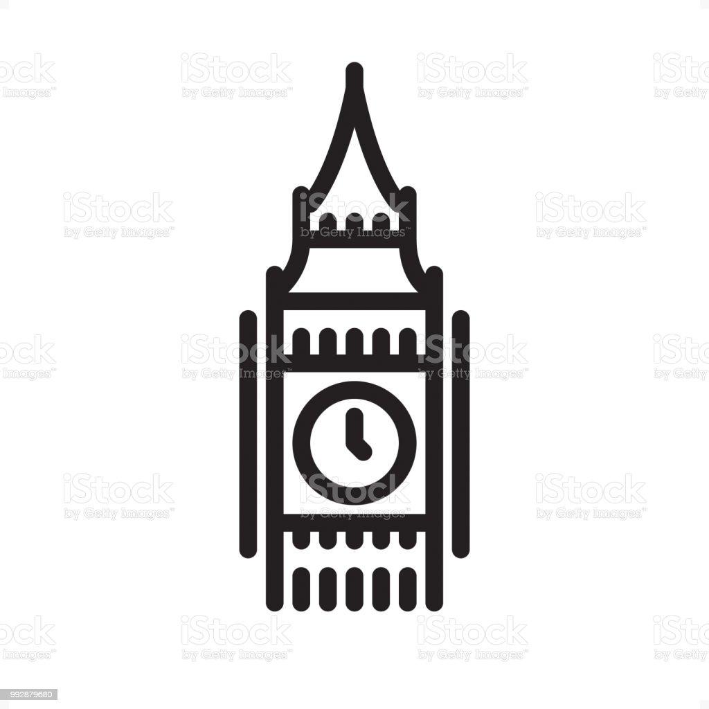 Big Ben Outline Icon Pixel Perfect Stock Illustration