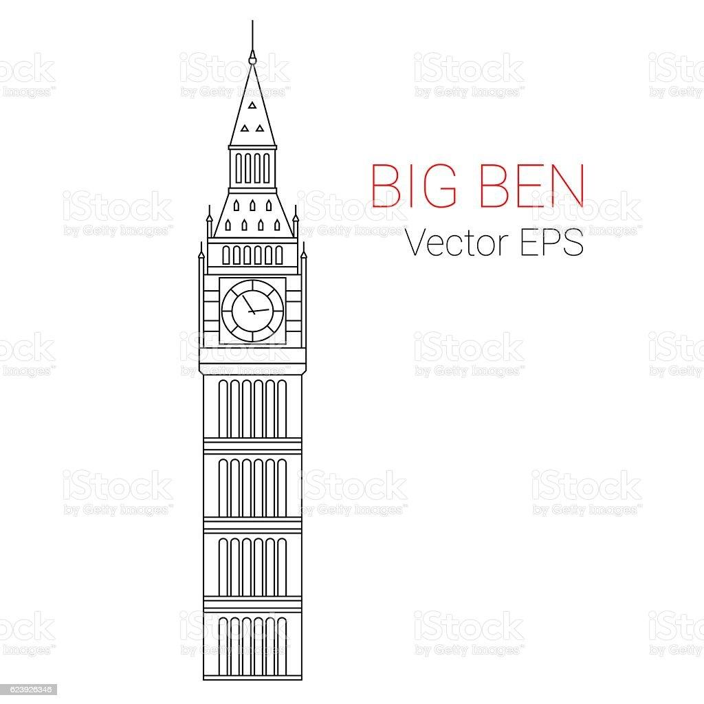 Big Ben Tower,  vector. vector art illustration