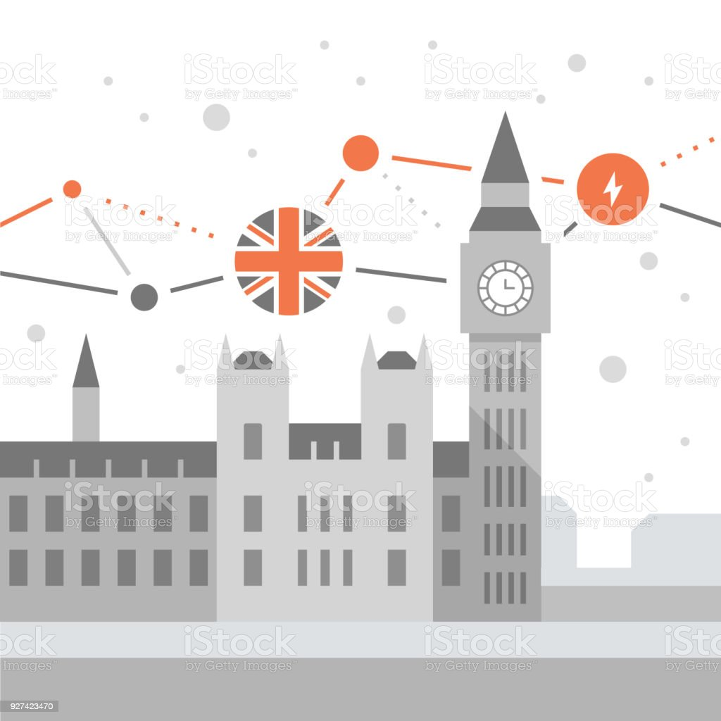 Big Ben tower with clock, London symbol, travel destination, famous landmark, the capital of England, Westminster Abbey vector art illustration