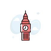 Big Ben Vector Icon Filled Outline style Illustrations.