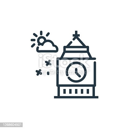 istock big ben vector icon isolated on white background. Outline, thin line big ben icon for website design and mobile, app development. Thin line big ben outline icon vector illustration. 1268604501