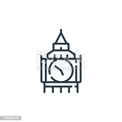 istock big ben vector icon isolated on white background. Outline, thin line big ben icon for website design and mobile, app development. Thin line big ben outline icon vector illustration. 1269382421