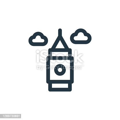 istock big ben vector icon isolated on white background. Outline, thin line big ben icon for website design and mobile, app development. Thin line big ben outline icon vector illustration. 1269730691