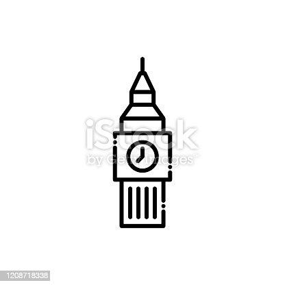 Big Ben Vector Icon line style Illustrations.