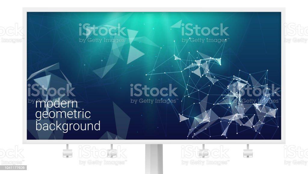 抽象的な多角形神経叢図形と大きな看板ビジネス通信ネットワーク ...