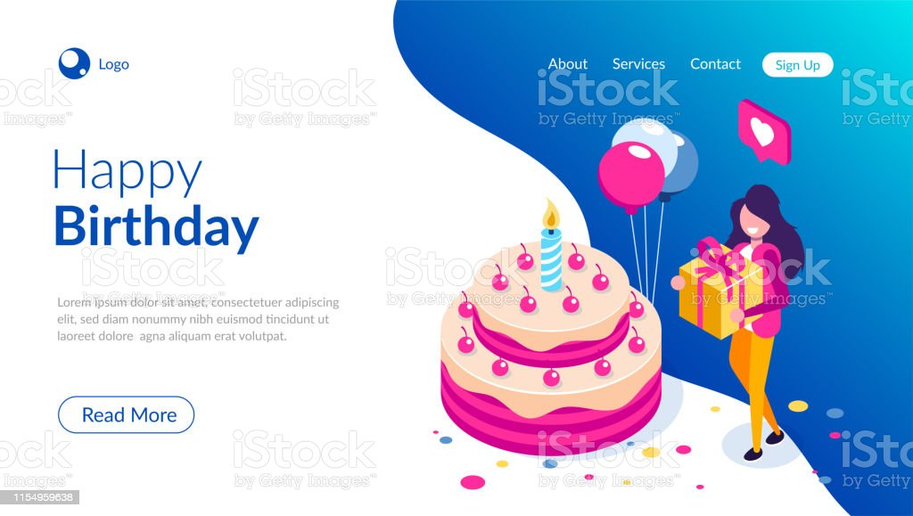 Admirable Big Birthday Cake Isometric Concept Happy Girl With A Gift In Hand Funny Birthday Cards Online Unhofree Goldxyz