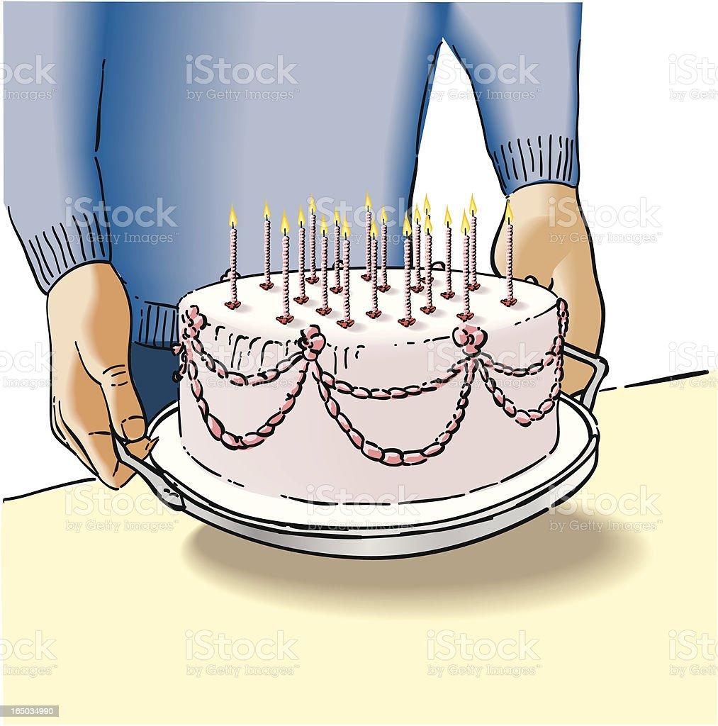 Big birthday cake vector art illustration