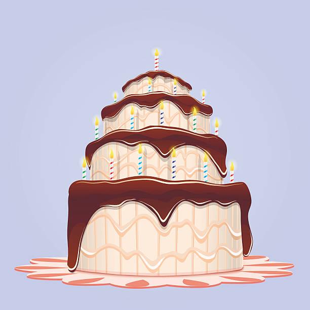 Big Birthday Cake With Candles Vektor Illustration 626414058