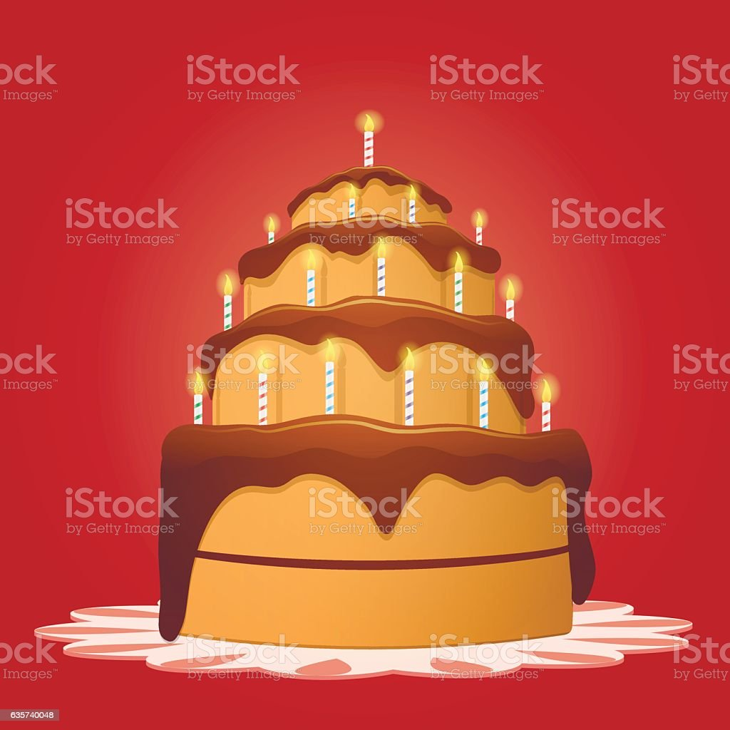 Big Birthday Cake With Candles Lizenzfreies Stock Vektor Art Und Mehr