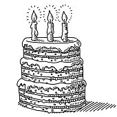 Hand-drawn vector drawing of a Big Birthday Cake With Three Candles On Top. Black-and-White sketch on a transparent background (.eps-file). Included files are EPS (v10) and Hi-Res JPG.