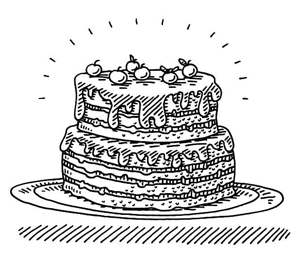 Big Birthday Cherry Cake Drawing Hand-drawn vector drawing of a Big Birthday Cherry Cake. Black-and-White sketch on a transparent background (.eps-file). Included files are EPS (v10) and Hi-Res JPG. celebration stock illustrations