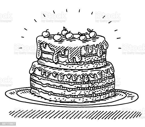 Big Birthday Cherry Cake Drawing Stock Illustration - Download Image Now