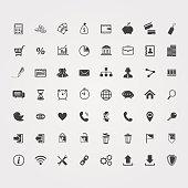 Big black Business icons set