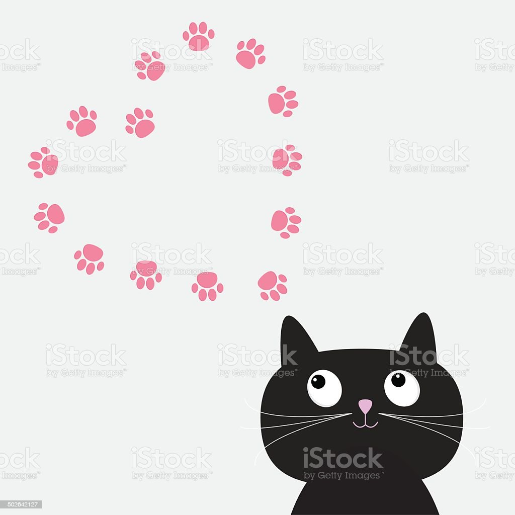 Big Black Cat And Paw Print Heart Frame Template Flat Stock Vector ...