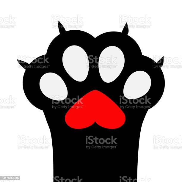 Big black cat paw print leg foot with nail claw red heart sign symbol vector id957690040?b=1&k=6&m=957690040&s=612x612&h=i35d lr tucfm3gzautastpczh eiog92nh2m0pyc4w=
