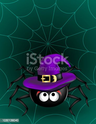istock Big Black cute spider in violet witch hat hanging on cobweb on dark green background. Halloween scary funny object 1030136040