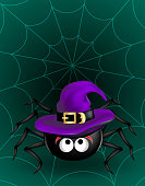 Big Black cute spider in violet witch hat hanging on cobweb on dark green background. Halloween scary funny object