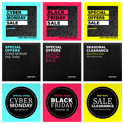 Big Black Friday and Cyber Monday sale design. Web and social media banner set with modern background.
