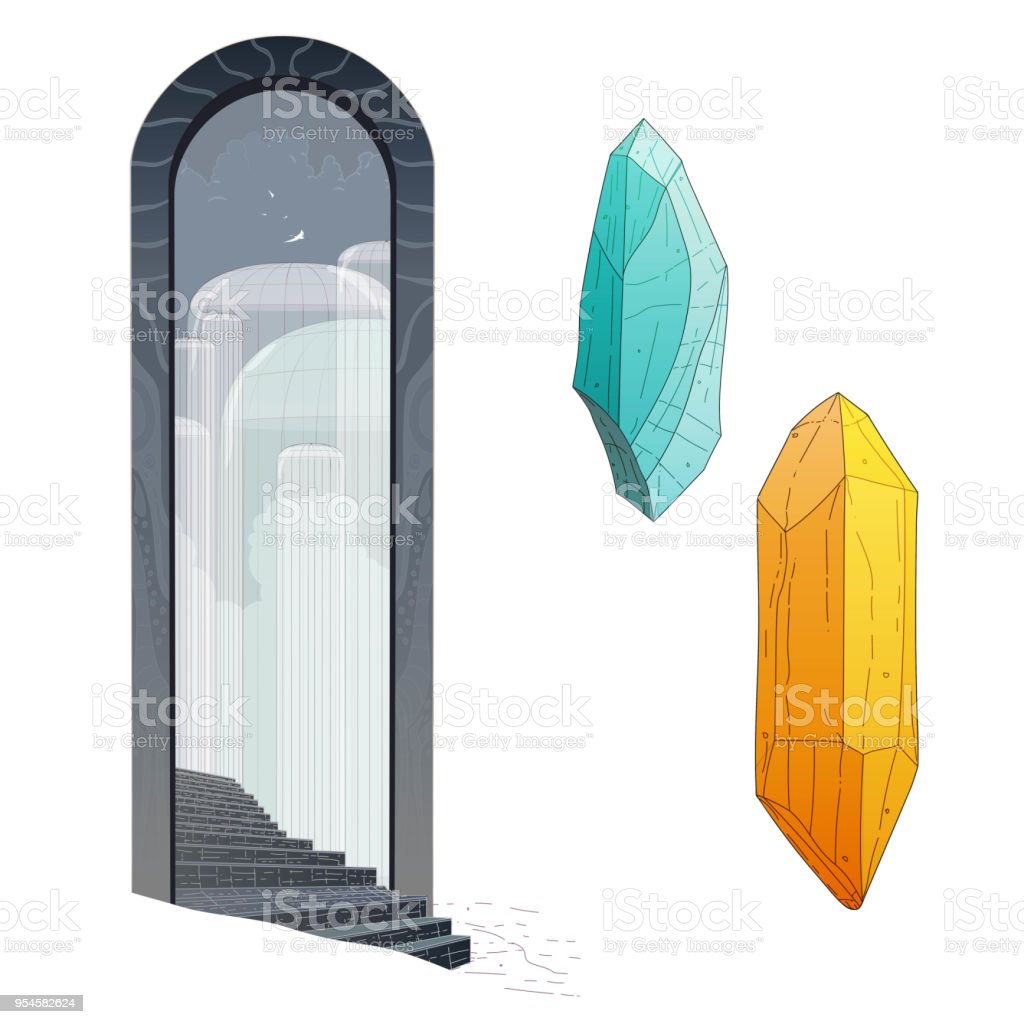 Big black gate with two crystals vector art illustration