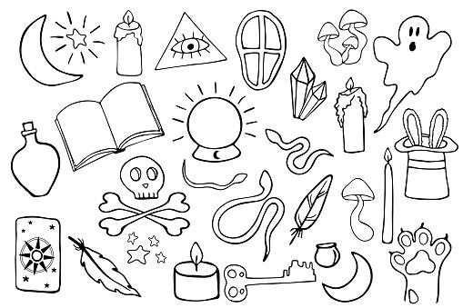 Big black magic vector icon set. Outlined monochrome doodle elements