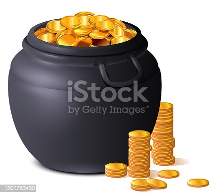 Big black pot full of gold coins. Treasure luck St. Patrick's Day. Isolated on white vector cartoon illustration
