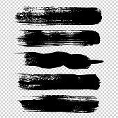 Big black straight brushstrokes textured big set isolated on imitation transparent background