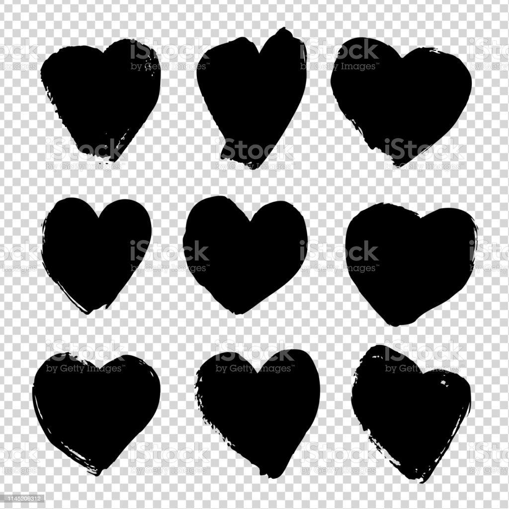 Kalp Seklinde Buyuk Siyah Dokulu Smear Taklit Seffaf Arka Planda