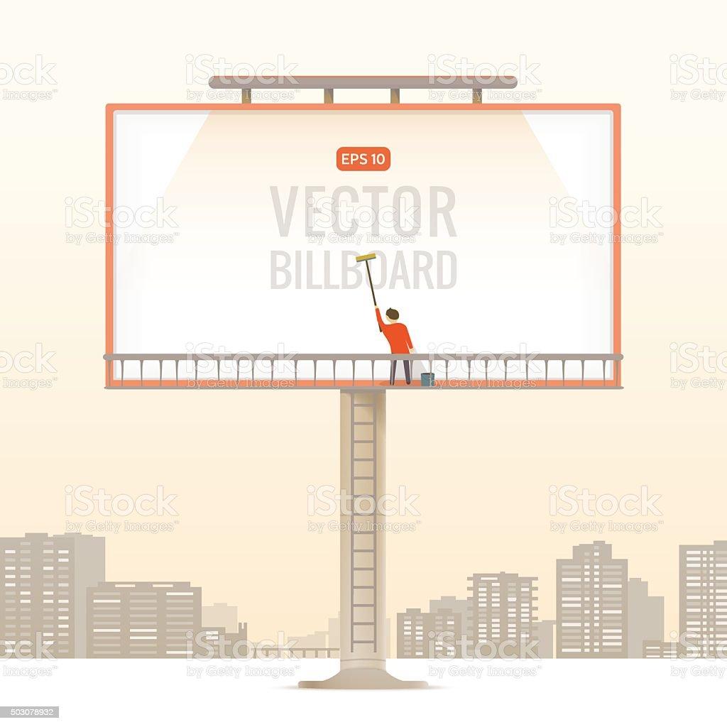 Big blank billboard in the city, vector illustration. vector art illustration