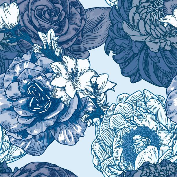 Big Bloom Vintage Line Art Seamless Floral Pattern vector art illustration