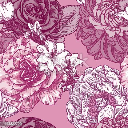 An old-fashioned style seamless floral pattern with big blooms of peonies, chrysanthemums, roses and clematis'.