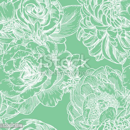 An old-fashioned style seamless floral pattern with big blooms of peonies, chrysanthemums, roses and clematis'