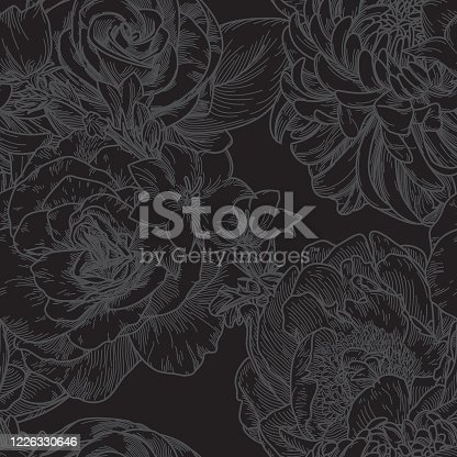 Big Bloom Vintage Line Art Seamless Floral Pattern