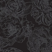 istock Big Bloom Vintage Line Art Seamless Floral Pattern 1226330646