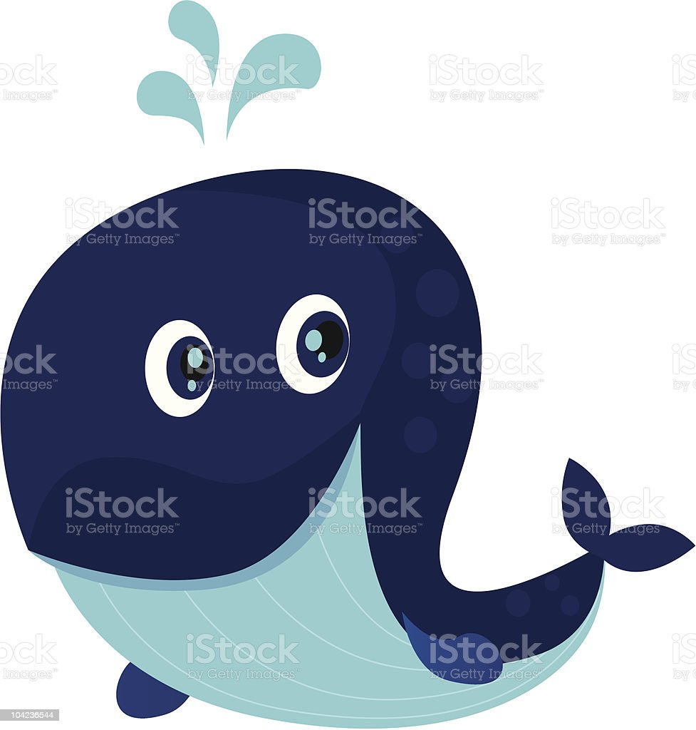 Big blue ocean cartoon whale royalty-free stock vector art