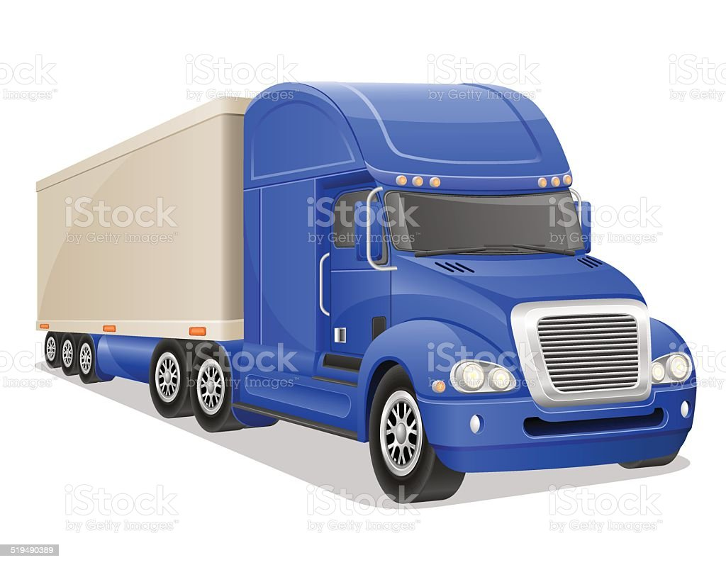 big blue truck vector illustration vector art illustration