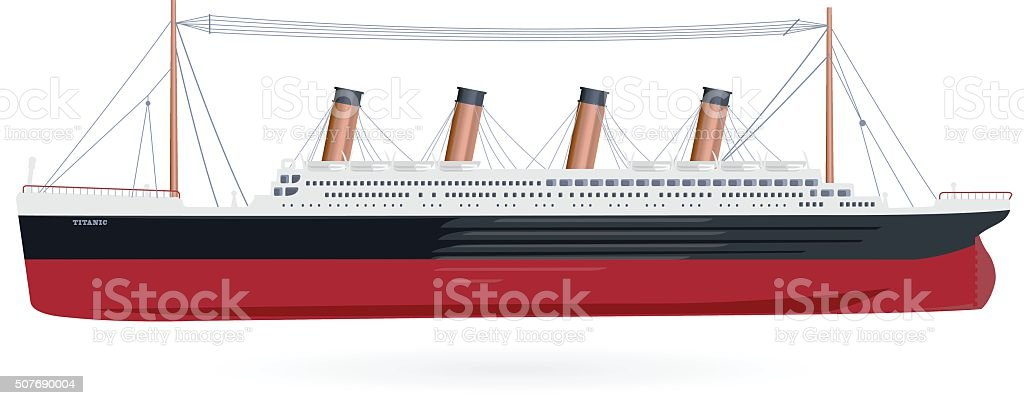Big boat legendary colossal boat monumental big ship symbol. vector art illustration