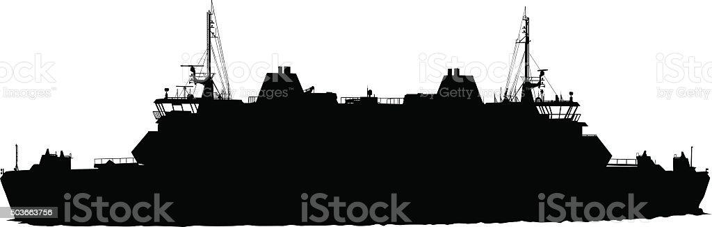 Big boat vector art illustration