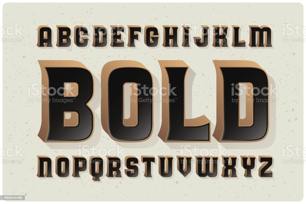 Big bold extruded typeface with smooth gradient fill vector art illustration