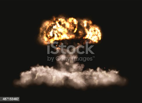 Vector illustration of an explosion on a black background. Big bomb explosion.