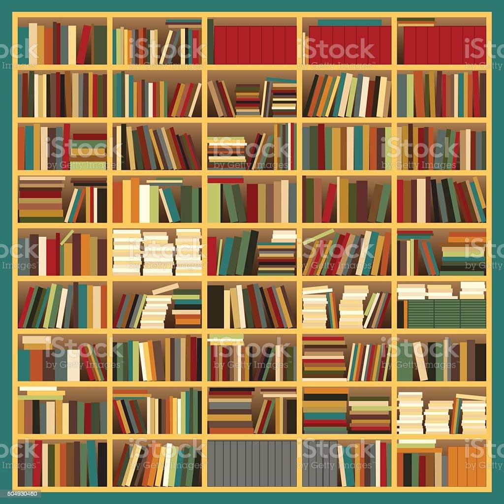 Big Bookshelf vector art illustration