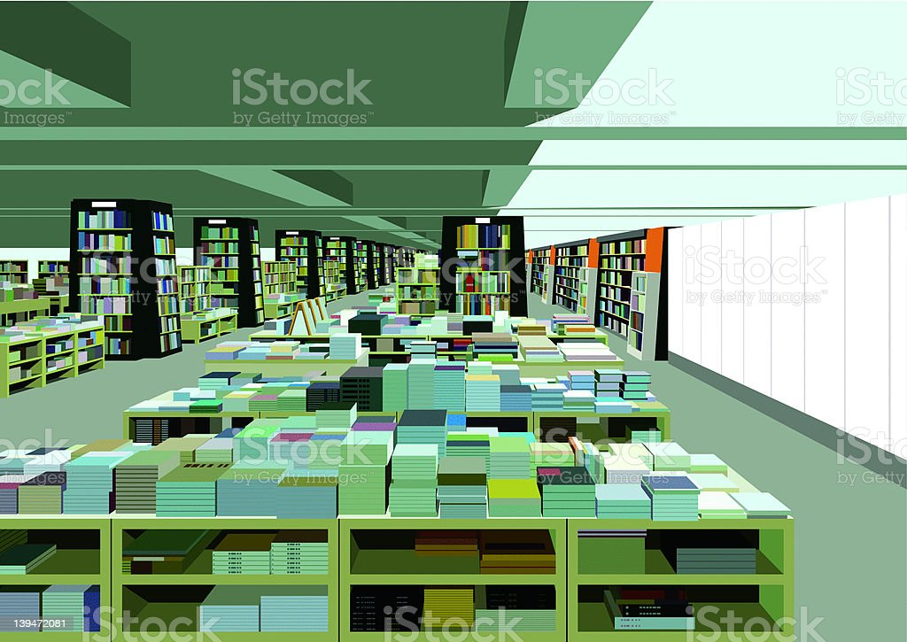 big bookstore cafe - ilustración de arte vectorial