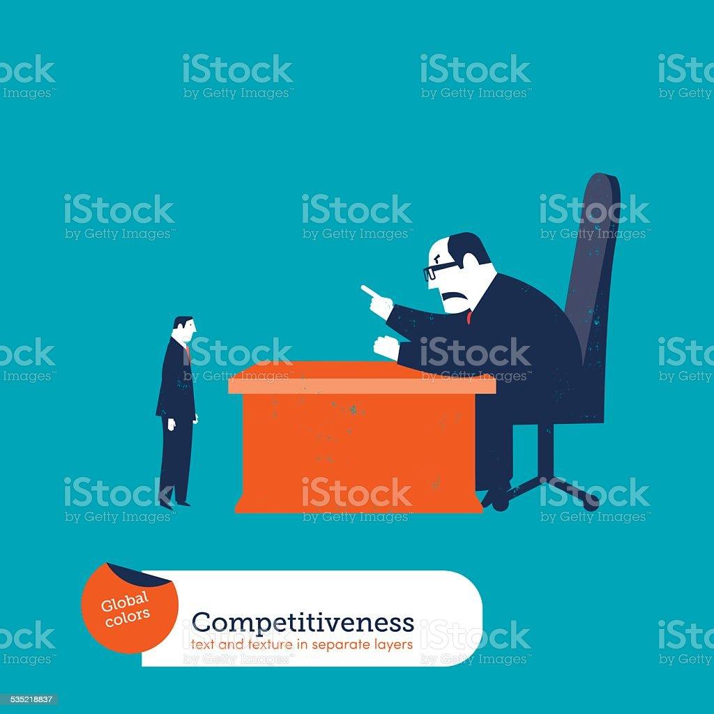 Big boss scolding an employee vector art illustration