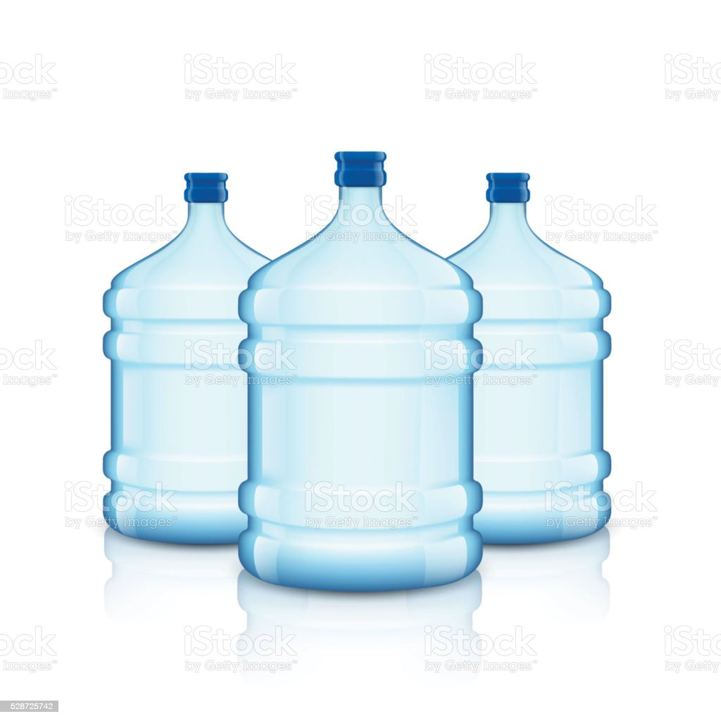 Big bottle with clean water. Plastic container for the cooler. vector art illustration