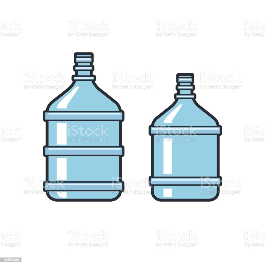 Big bottles with clean water. Flat icons. Plastic container vector art illustration