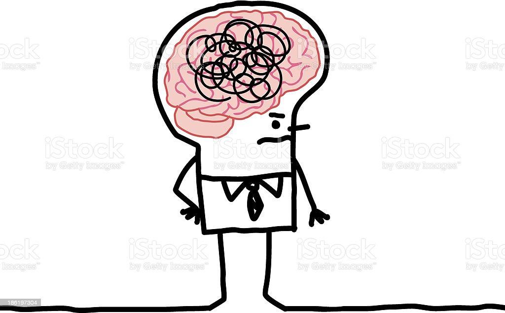 Großes Gehirn Mann Verwirrung Vektor Illustration 186197304 | iStock