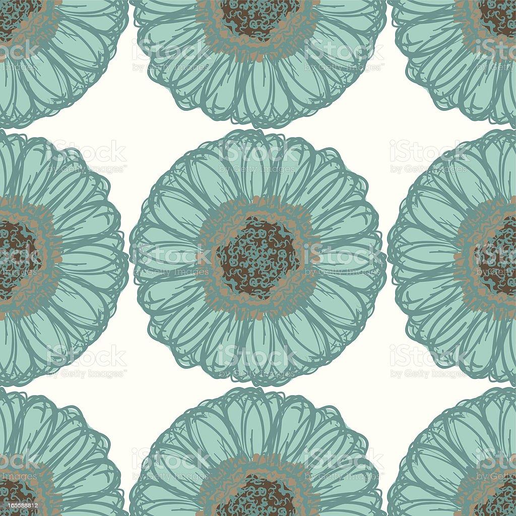 Big Brash Aqua and Brown Seamless Sunflower Pattern royalty-free big brash aqua and brown seamless sunflower pattern stock vector art & more images of backgrounds