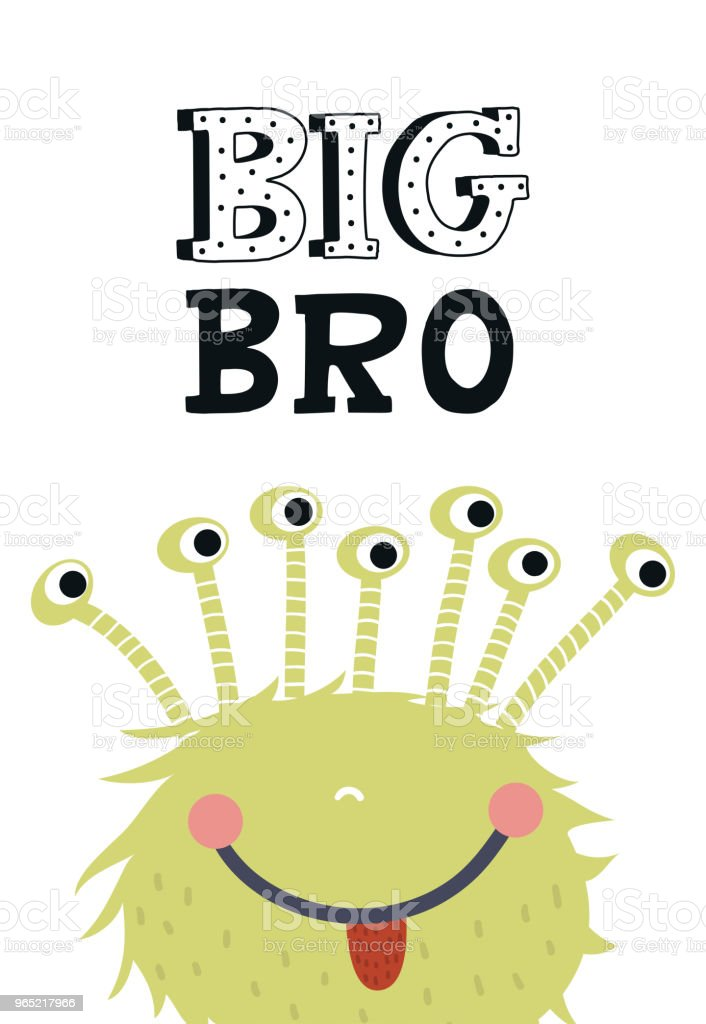 Big Bro - Funny nursery poster with cute monster and lettering. Vector illustration in scandinavian style royalty-free big bro funny nursery poster with cute monster and lettering vector illustration in scandinavian style stock vector art & more images of alien