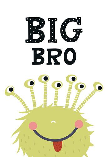 Big Obr Grappige Kwekerij Poster Met Monster En Belettering Monochroom Kinderen Vectorillustratie In Scandinavische Stijl Stockvectorkunst en meer beelden van Alfabet